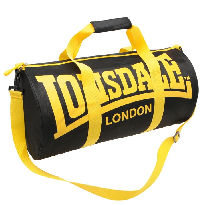 Сумка Lonsdale Barrel Bag черно желтая