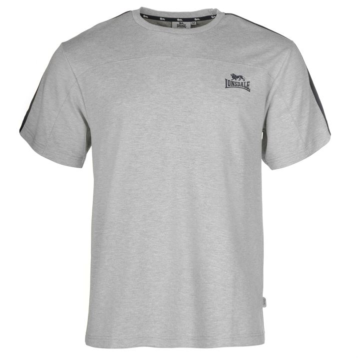 Lonsdale 2 Stripe Short Sleeve T Shirt Mens grey