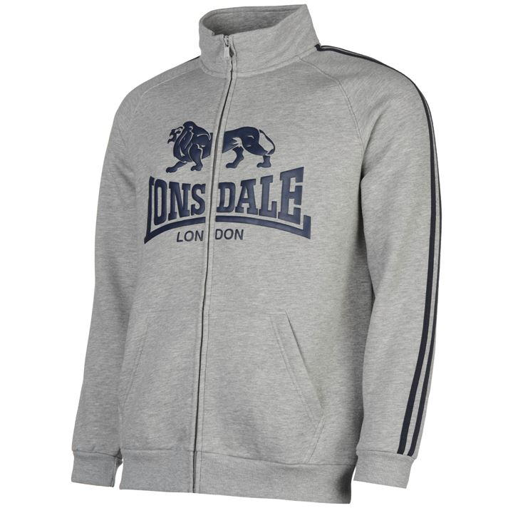 Толстовка Lonsdale Full Zip Jacket Mens серая
