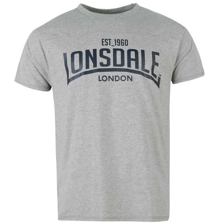Футболка Lonsdale Box T Shirt Mens серая