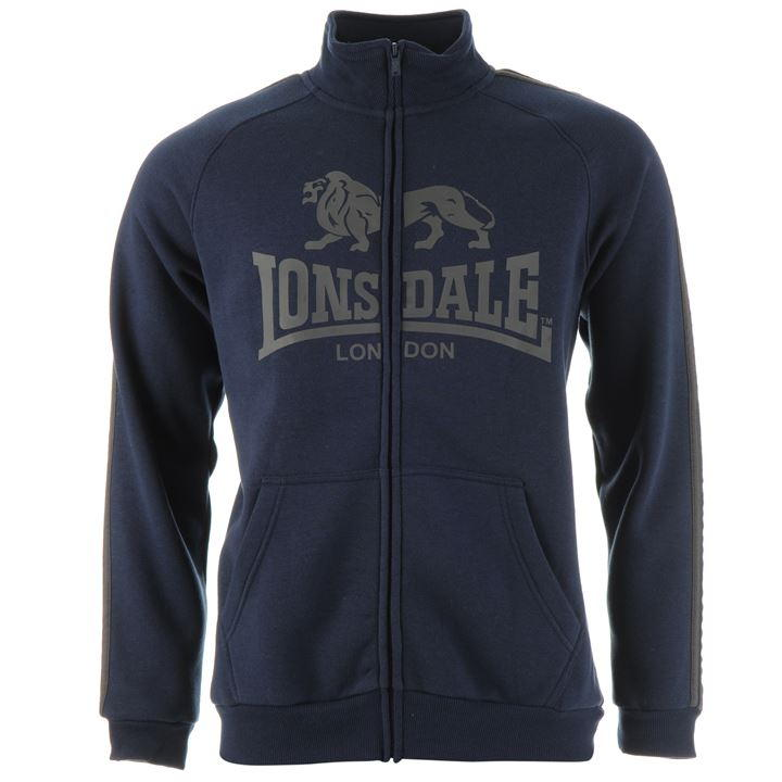 Толстовка Lonsdale 2 Stripe Zip Thru Hoody Mens синяя