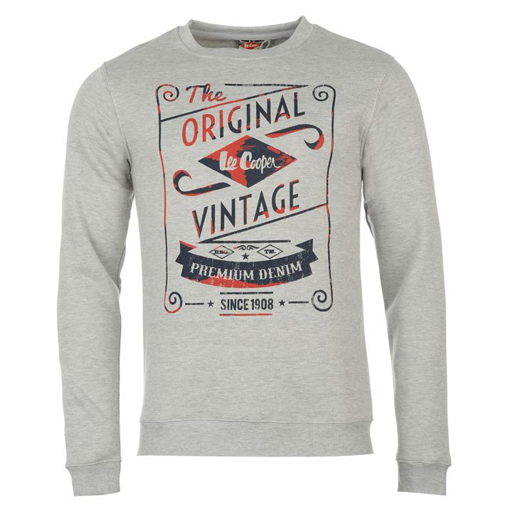 Толстовка Lee Cooper Vintage Crew Sweater Mens серая