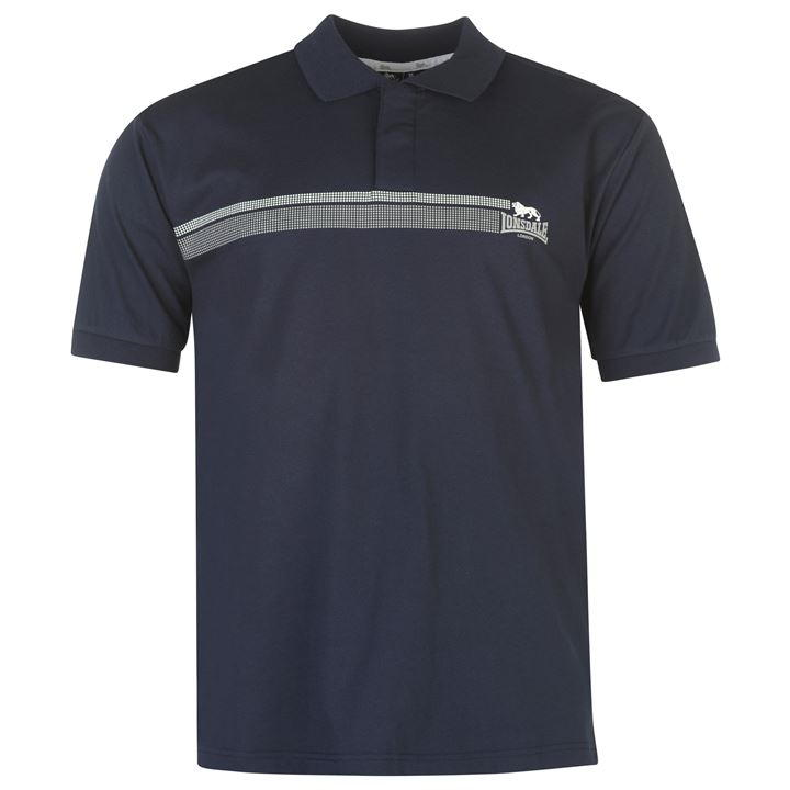 Поло Lonsdale 2 Stripe Polo Shirt Mens синие
